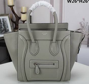 Celine Luggage Micro Tote Bag Original Litchi Leather CLY33081M Grey