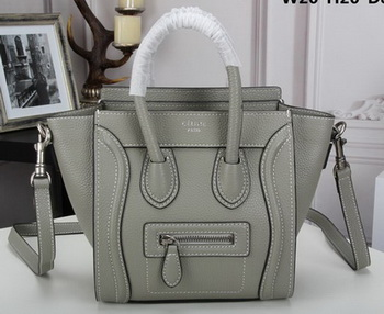 Celine Luggage Nano Tote Bag Original Litchi Leather CLY33081S Grey