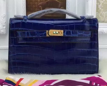 Hermes MINI Kelly 22cm Tote Bag Croco Leather KL22 Blue