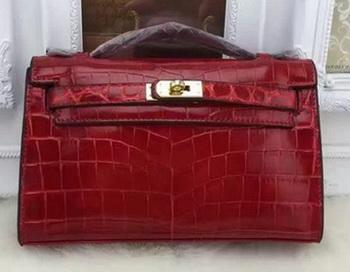 Hermes MINI Kelly 22cm Tote Bag Croco Leather KL22 Burgundy