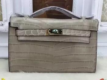 Hermes MINI Kelly 22cm Tote Bag Croco Leather KL22 Grey