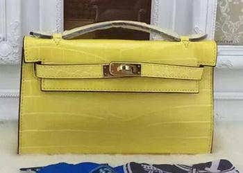 Hermes MINI Kelly 22cm Tote Bag Croco Leather KL22 Lemon
