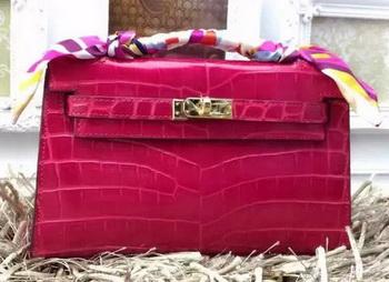 Hermes MINI Kelly 22cm Tote Bag Croco Leather KL22 Rose