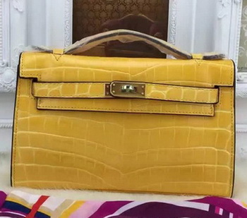Hermes MINI Kelly 22cm Tote Bag Croco Leather KL22 Yellow