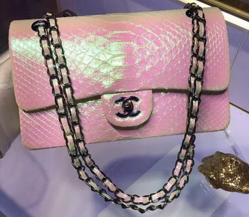 Chanel 2.55 Series Flap Bags Original Snake Leather A1112 Pink