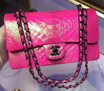 Chanel 2.55 Series Flap Bags Original Snake Leather A1112 Rose