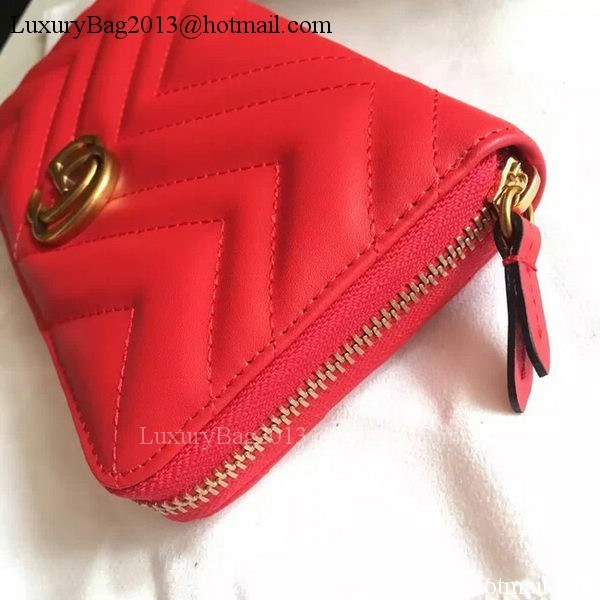 Gucci GG Marmont Zip Around Wallet 443123 Red