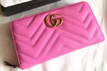 Gucci GG Marmont Zip Around Wallet 443123 Rose