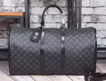 Louis Vuitton Monogram Eclipse Canvas KEEPALL 55 BANDOULIERE M40605