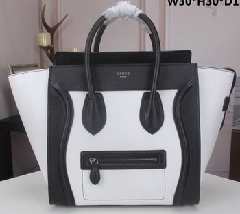 Celine Luggage Mini Tote Bag Original Litchi Leather CLY33081L White&Black