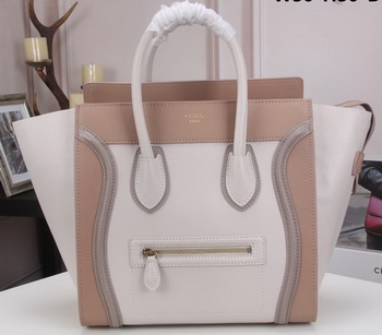 Celine Luggage Mini Tote Bag Original Litchi Leather CLY33081L White&Camel