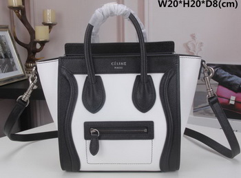 Celine Luggage Nano Tote Bag Original Leather CLY33081S White&Black