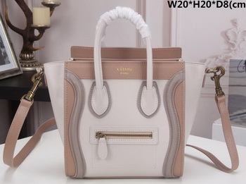 Celine Luggage Nano Tote Bag Original Leather CLY33081S White&Camel