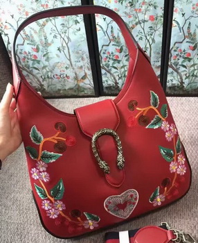 Gucci Dionysus Embroidered Leather Hobo Bag 444072 Red