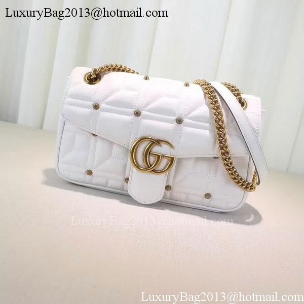 Gucci GG Marmont Matelasse Shoulder Bag 443497 White