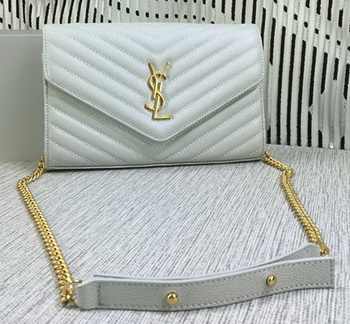 YSL Classic Monogramme Flap Bag Cannage Pattern Y377828L OffWhite