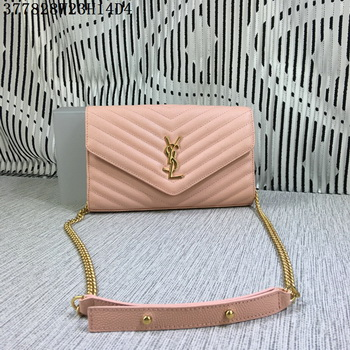 YSL Classic Monogramme Flap Bag Cannage Pattern Y377828L Pink