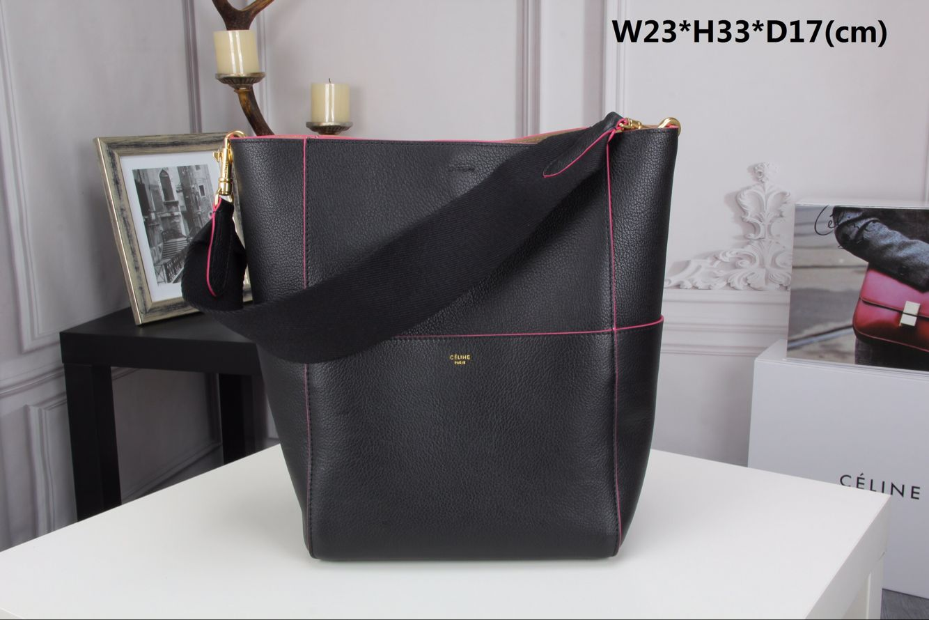 CELINE Sangle Seau Bag in Original Goat Leather C3360 Black