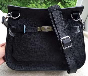 Hermes Jypsiere 31CM Shoulder Bag Calfskin Leather H0880 Black