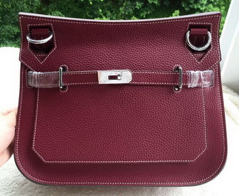 Hermes Jypsiere 31CM Shoulder Bag Calfskin Leather H0880 Wine