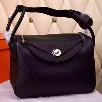 Hermes Lindy 30CM Leather Shoulder Bag H0881 Black
