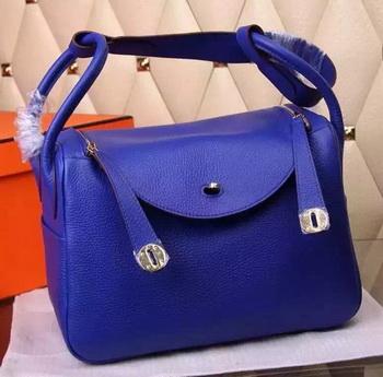 Hermes Lindy 30CM Leather Shoulder Bag H0881 Blue