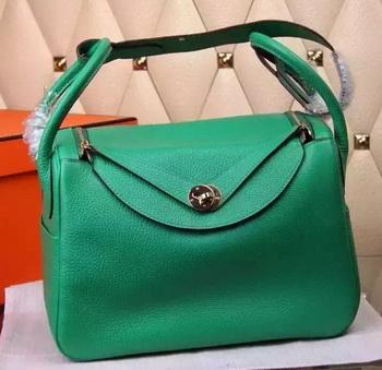 Hermes Lindy 30CM Leather Shoulder Bag H0881 Green