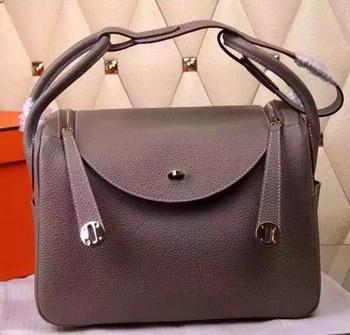Hermes Lindy 30CM Leather Shoulder Bag H0881 Grey