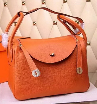 Hermes Lindy 30CM Leather Shoulder Bag H0881 Orange