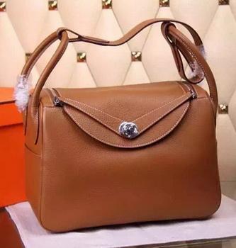 Hermes Lindy 30CM Leather Shoulder Bag H0881 Wheat