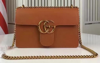 Gucci GG Marmont Leather Shoulder Bag 431384 Brown