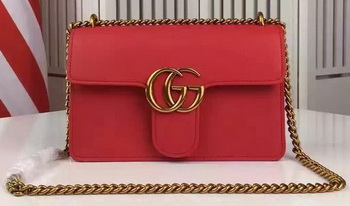 Gucci GG Marmont Leather Shoulder Bag 431384 Red