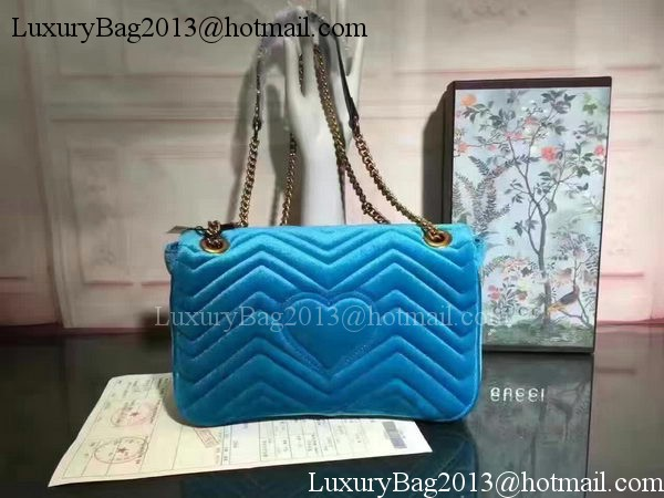 Gucci GG Marmont Velvet Shoulder Bag 443497 Blue