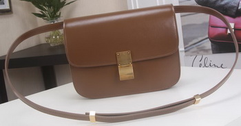 Celine Classic Box Flap Bag Calfskin Leather C3369 Brown