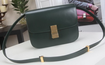 Celine Classic Box Flap Bag Calfskin Leather C3369 Green