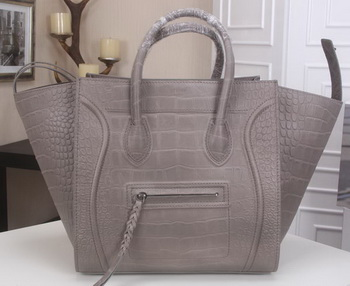 Celine Luggage Phantom Tote Bag Croco Leather CT3341 Grey