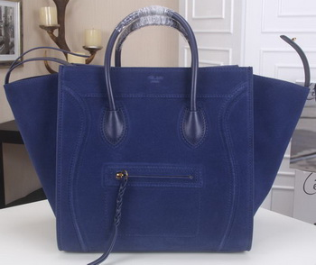 Celine Luggage Phantom Tote Bag Suede Leather CT3341 Royal