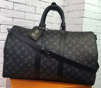 Louis Vuitton Monogram Eclipse Canvas KEEPALL 45 BANDOULIERE N40569