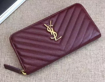 Yves Saint Laurent Monogramme Calfskin Leather Zippy Wallet Y38204 Wine