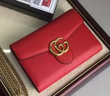 Gucci GG Marmont Leather mini Chain Bag 401232 Red