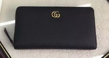 Gucci Leather Zip Around Wallet 456117 Black