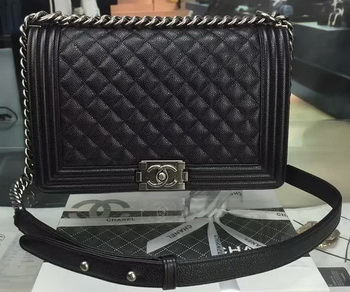 Boy Chanel Flap Bags Original Black Cannage Pattern A67088 Silver