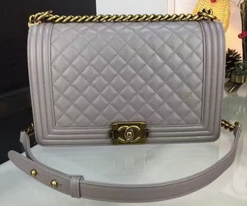 Boy Chanel Flap Bags Original Grey Cannage Pattern A67088 Gold