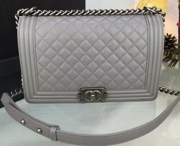 Boy Chanel Flap Bags Original Grey Cannage Pattern A67088 Silver