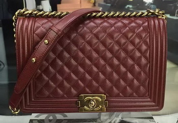 Boy Chanel Flap Bags Original Wine Cannage Pattern A67088 Gold