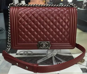 Boy Chanel Flap Bags Original Wine Cannage Pattern A67088 Silver