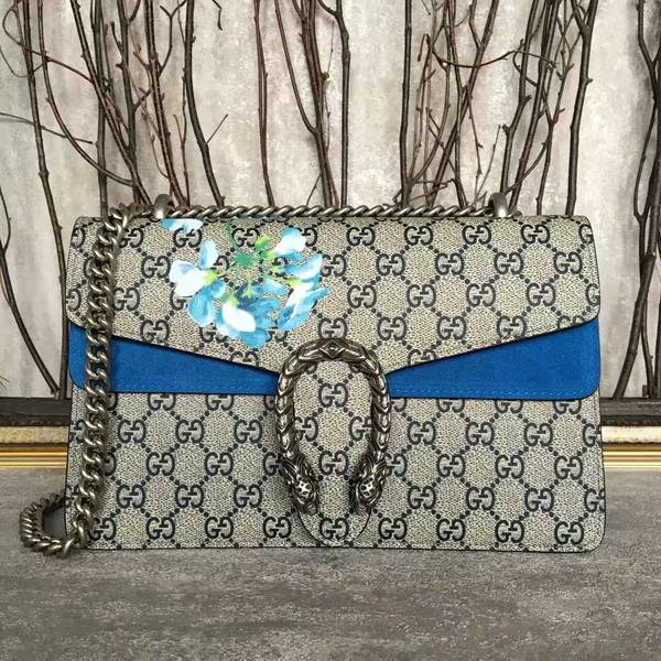 Gucci Medium Dionysus GG Canvas Shoulder Bag 400249 Blue