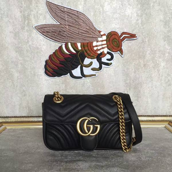 Gucci Now GG Marmont Mini Shoulder Bag 446744 Black