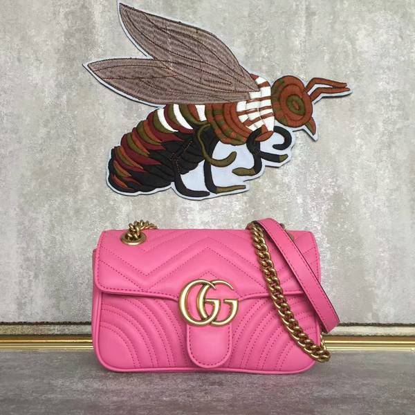Gucci Now GG Marmont Mini Shoulder Bag 446744 Pink