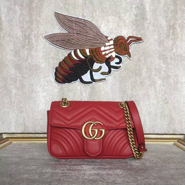 Gucci Now GG Marmont Mini Shoulder Bag 446744 Red